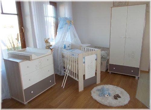 babybett h schen blau inkl wickelkommode lattenrost matratze bettw sche komplettset 12 teile. Black Bedroom Furniture Sets. Home Design Ideas
