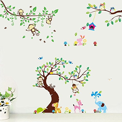 Rainbow Fox Wandtattoo Wandsticker Eule Baum