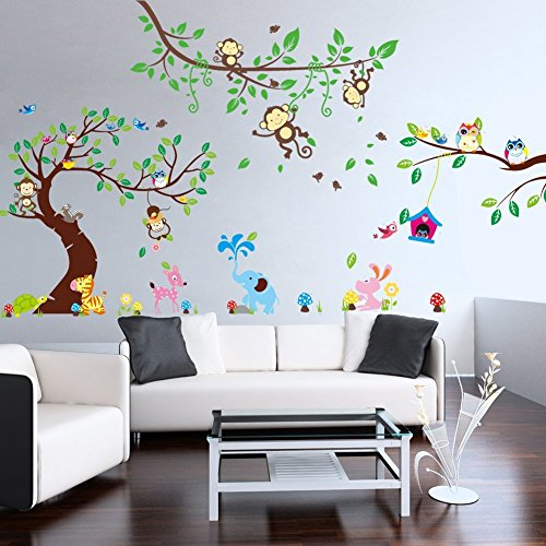 rainbow fox wandtattoo wandsticker eule baum. Black Bedroom Furniture Sets. Home Design Ideas